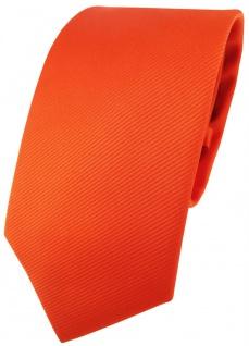 TigerTie Designer Krawatte in orange leuchtorange einfarbig Uni Rips