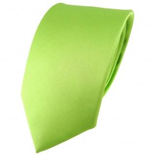 TigerTie Satin Seidenkrawatte in hellgrün einfarbig Uni - Krawatte 100% Seide