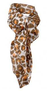 Halstuch orange braun weissgrau gemustert und gepunktet - Tuch Gr. 100 x 100 cm