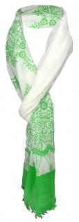 TigerTie Schal in grün cremeweiss gemustert mit kl. Fransen - 100% Modal