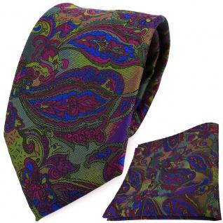 TigerTie Designer Krawatte + Einstecktuch violett blau olivegrün Paisleymuster