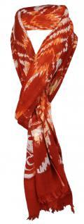 TigerTie Schal in karminrot orange beige gemustert mit kl. Fransen - 100% Modal