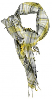 Halstuch in gelb grau schwarz silber kariert mit Fransen - Gr. 100 x 100 cm