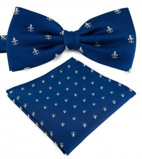 TigerTie Fliege in royal blau silber mit Lilien gemustert + Einstecktuch + Box