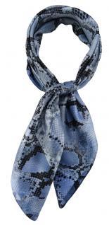 TigerTie Damen Nickituch Halstuch in blau grau schwarz Schlangenmuster