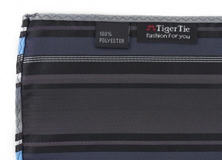 TigerTie Designer Einstecktuch in hellblau silber grau weiss schwarz gestreift - Vorschau 3