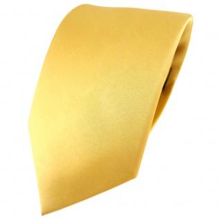 TigerTie Satin Seidenkrawatte gold hellgold einfarbig Uni - Krawatte 100% Seide