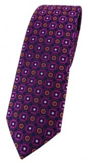 schmale TigerTie Designer Krawatte in magenta orange silber schwarz gemustert