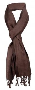 Schal in braun dunkelbraun mit langen Fransen - Gr. 180 x 35 cm - Halstuch