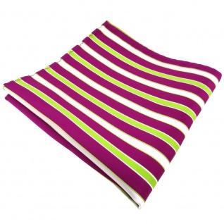 TigerTie Einstecktuch magenta fuchsia grün weiß gestreift - Tuch 100% Polyester
