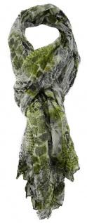 TigerTie Chiffon Schal in grün schwarz creme gemustert - Gr. 180 x 100 cm