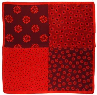 TigerTie Multi Seideneinstecktuch rot weinrot schwarz geblümt - Tuch 100% Seide