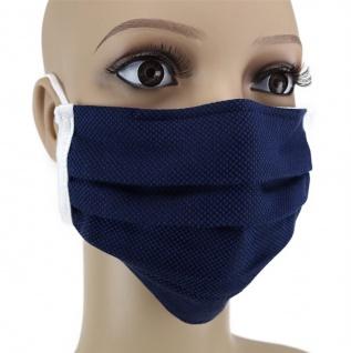 TigerTie Gesichtsmaske mit Nasenbügel Pique marine gemustert mit Gummiband