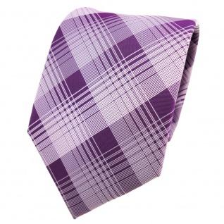 Designer Krawatte lila violett silber grau kariert - Schlips Binder Tie
