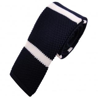 Schmale Strickkrawatte blau dunkelblau weiß gestreift - Krawatte Polyester Tie