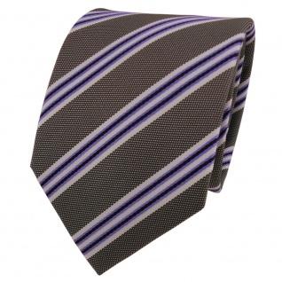 Designer Krawatte lila violett grau weiß gestreift - Schlips Binder Tie