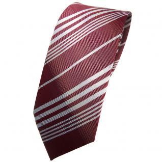Schmale TigerTie Krawatte rot bordeaux weinrot silber grau gestreift - Binder