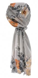 TigerTie Chiffon Schal lachs grau anthrazit weißgrau mit Blumenmotiven gemustert