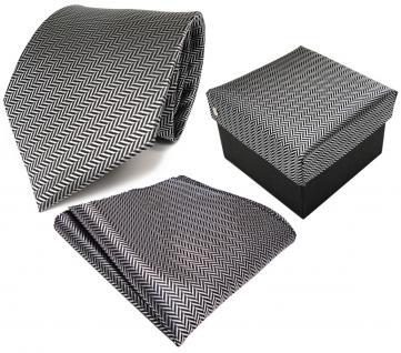 3er Set TigerTie Krawatte + Einstecktuch + Box in grau silber gestreift