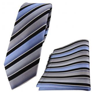 schmale TigerTie Seidenkrawatte + Einstecktuch grau blau schwarz gestreift