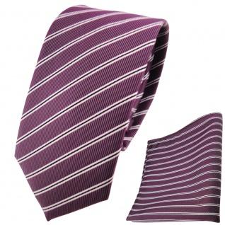 schmale TigerTie Krawatte + Einstecktuch pflaume silberweiß schwarz gestreift