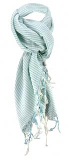 Halstuch in mint grau beige gestreift mit Fransen - Größe 100 x 100 cm