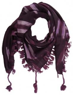 TigerTie Halstuch bordeaux violett silber gemustert mit Fransen - Gr. 95 x 95 cm