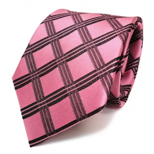 Designer Seidenkrawatte rosé rosa pink schwarz kariert - Krawatte Seide Silk