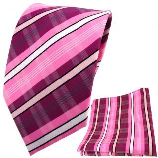 TigerTie Designer Krawatte + Einstecktuch lila rosa pink weiß grau gestreift