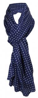 großer Chiffon Schal in marine dunkelblau braunbeige gepunktet -Gr. 200 x 100 cm