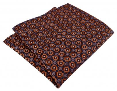 TigerTie Designer Einstecktuch in orange blau silber schwarz gemustert