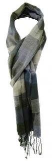 TigerTie Schal in olive dunkelgrün grau blaugrau gemustert - Größe 180 x 50 cm