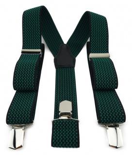 TigerTie Unisex Hosenträger mit 3 extra starken Clips - grün schwarz gemustert