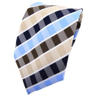 TigerTie Krawatte beige braun blau hellblau weiß gestreift - Binder Tie