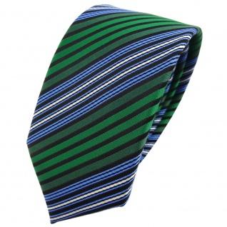 Schmale TigerTie Krawatte grün blau schwarz silber gestreift - Binder Tie