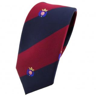 schmale TigerTie Krawatte rot weinrot dunkelblau gestreift Wappen - Binder Tie