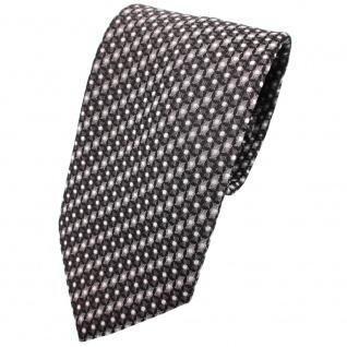 TigerTie Krawatte anthrazit grau silber schwarz gemustert mit Punkten - Binder