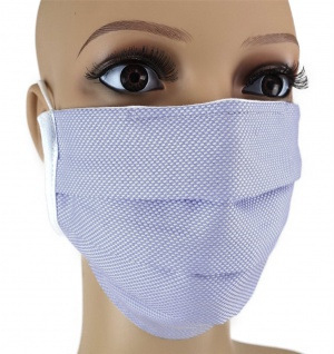 TigerTie Gesichtsmaske mit Nasenbügel Pique blau-weiss gemustert mit Gummiband