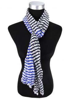 Halstuch in blau weiß gestreift Gr. 180 cm x 50 cm - Tuch Schal Baumwolle