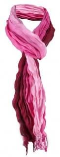 Raffschal in rosa pink bordeaux gestreift mit kleinen Fransen - Gr. 180 x 50 cm