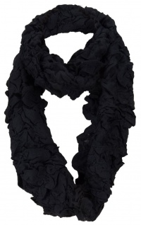 Damen Loop Schal in schwarz im Knitterlook - Größe 180 x 40 cm - Rundschal