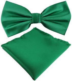 TigerTie Satin Fliege + Einstecktuch in grün Uni einfarbig + Geschenkbox - Vorschau