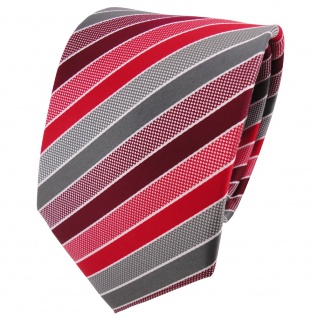 TigerTie Designer Krawatte rot bordeaux grau silber gestreift - Binder Tie