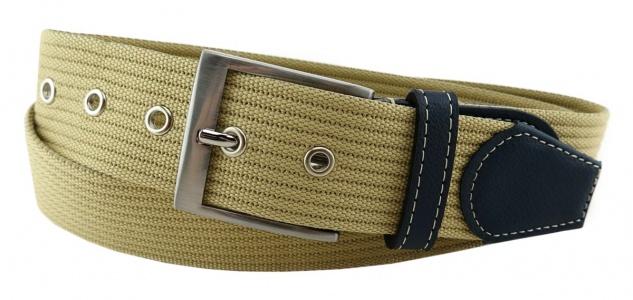 TigerTie - Stoffgürtel in beige elfenbein einfarbig - Bundweite 100 cm