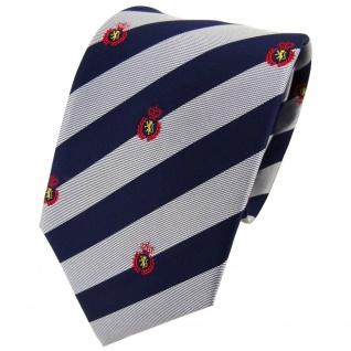 TigerTie Seidenkrawatte silber blau rot gold gestreift Wappen - Krawatte Seide