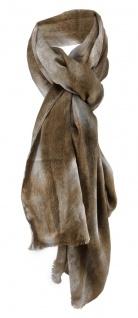 Damen Schal Halstuch oliv silber grau mit Fransen Gr. 185 cm x 75 cm - Tuch