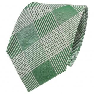 TigerTie Designer Seidenkrawatte grün grasgrün weiß kariert - Krawatte Seide