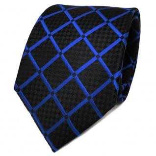 TigerTie Designer Seidenkrawatte blau marine schwarz kariert - Krawatte Seide