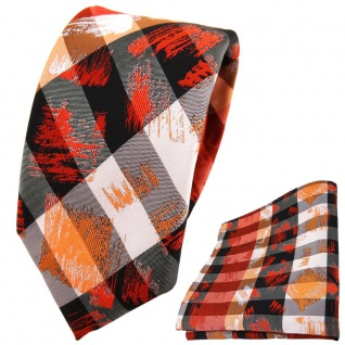 schmale TigerTie Krawatte + Einstecktuch in orange grau silber schwarz gestreift