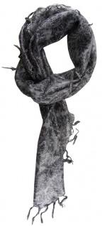 TigerTie Halstuch grau anthrazit silber gemustert mit Fransen - Gr. 90 x 90 cm